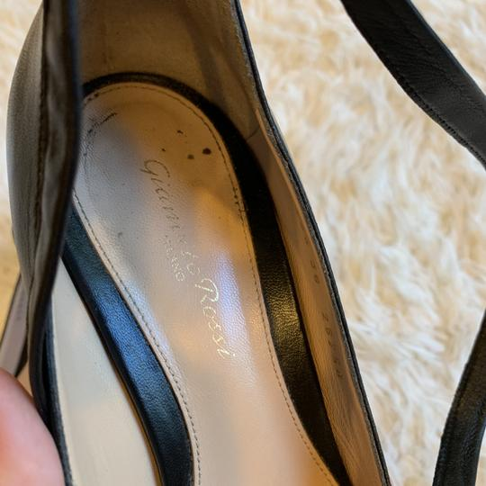 Gianvito Rossi Leather Ankle Wrap Work Classic Black Pumps Image 6