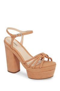 SCHUTZ Leather Ankle Strap Chunky Heel Brown Platforms