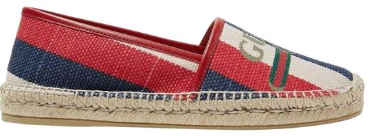 Preload https://img-static.tradesy.com/item/25864842/gucci-blue-sylvie-canvas-leather-red-white-logo-print-stripe-espadrille-flats-size-eu-38-approx-us-8-0-1-540-540.jpg