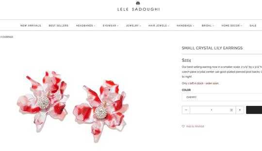 Lele Sadoughi BRAND NEW Lele Sadoughi Small Cherry Red Crystal Lily Flower Earrings Image 1