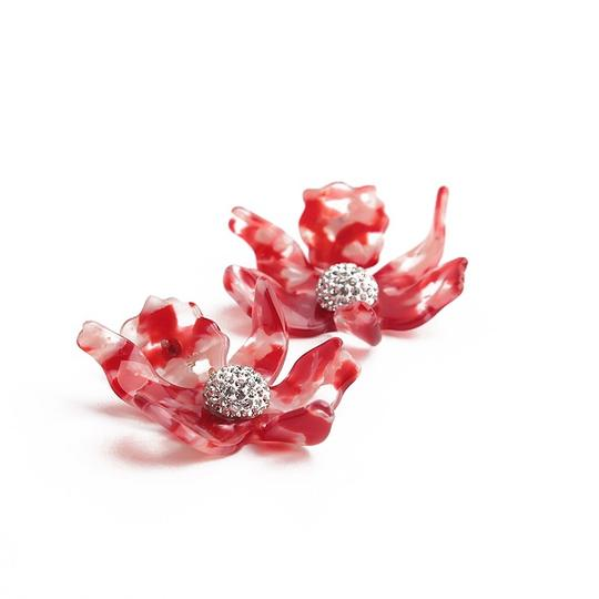 Lele Sadoughi BRAND NEW Lele Sadoughi Small Cherry Red Crystal Lily Flower Earrings Image 3