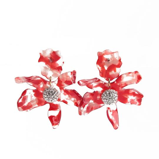 Lele Sadoughi BRAND NEW Lele Sadoughi Small Cherry Red Crystal Lily Flower Earrings Image 4