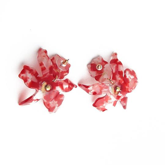 Lele Sadoughi BRAND NEW Lele Sadoughi Small Cherry Red Crystal Lily Flower Earrings Image 5