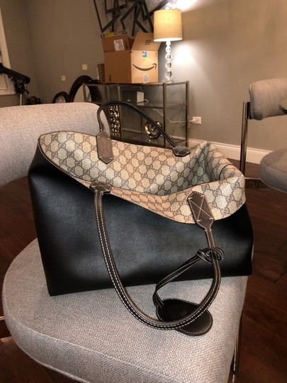Gucci Reversible Tote in Black/Beige Ebony GG Leather Image 10