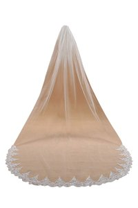 Champagne Long White Ivory Lace Edge Cathedral Length Veil+comb Bridal Veil