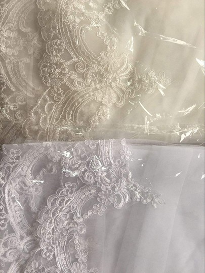 Champagne Long White Ivory Lace Edge Cathedral Length Veil+comb Bridal Veil Image 6