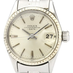 Rolex ROLEX Oyster Perpetual Date 6517 White Gold Steel Ladies Watch