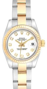 Rolex Rolex Datejust Steel Yellow Gold Diamond Ladies Watch 179173 Box Card