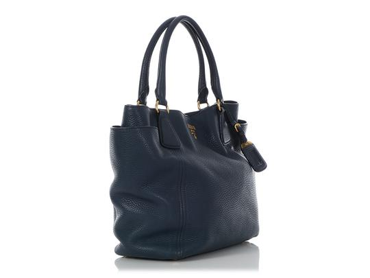 Prada Pr.q0614.14 Gold Hardware Navy Tote in Blue Image 4