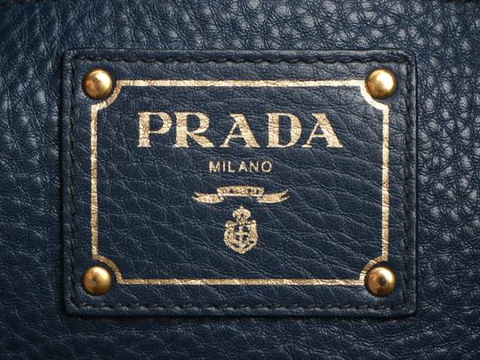 Prada Pr.q0614.14 Gold Hardware Navy Tote in Blue Image 8
