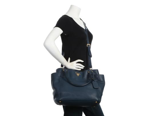 Prada Pr.q0614.14 Gold Hardware Navy Tote in Blue Image 9