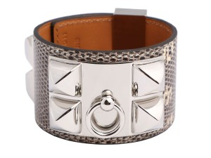 Hermès BROWN OMBRE LIZARD Collier de Chien CDC Cuff Bracelet