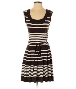 Shoshanna short dress Brown/White Cotton Stripe Swing Sleeveless Fit And Flare on Tradesy
