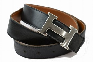 Hermès Hermes H Constance Logo Belt Black Brown Reversible 80