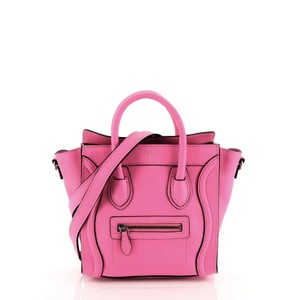 Céline Luggage Leather Satchel in pink