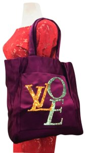 Louis Vuitton Love Satin Limited Edition Sequins Vintage Tote in Violet