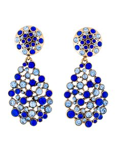 Oscar de la Renta Oscar de la Renta Signed Multi-Stone Blue Teardrop Earrings