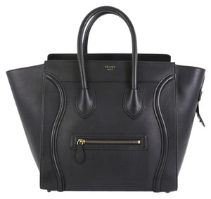 Céline Luggage Smooth Leather Satchel in black