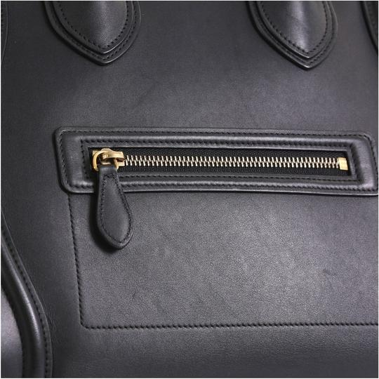 Céline Luggage Smooth Leather Satchel in black Image 6