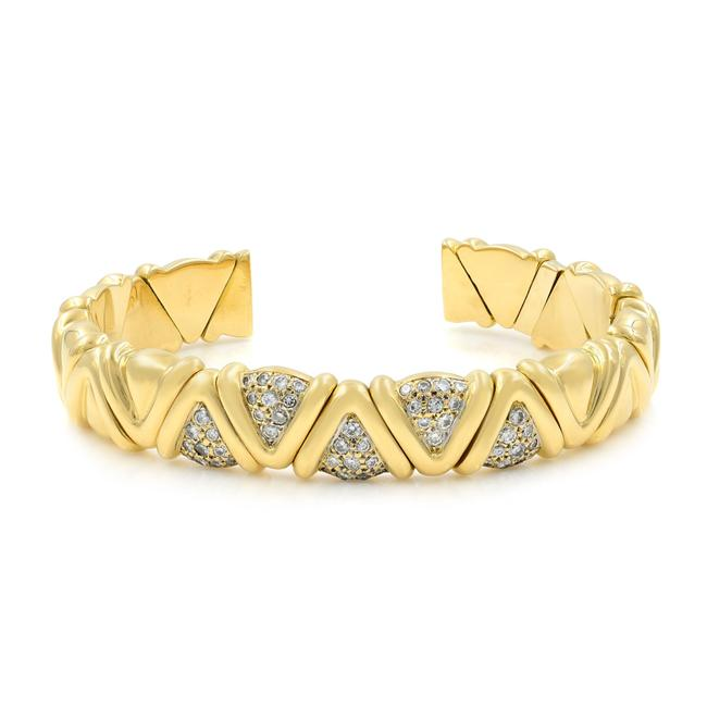 Item - 18k Yellow Gold Solid Cuff Diamond 1.00cts Bracelet