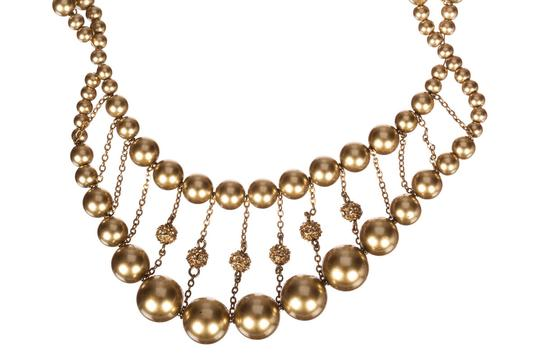 Givenchy Givenchy Faux Golden Pearl and Rhinestone Spiral Necklace Image 1