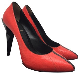 Fendi Snakeskin Heels Red and Black Pumps