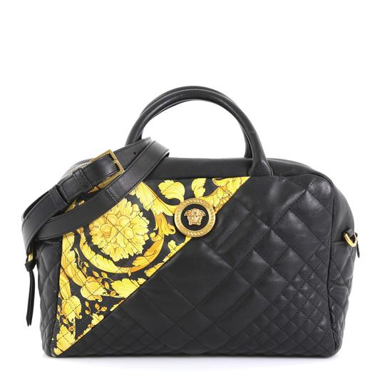 Preload https://img-static.tradesy.com/item/25866472/versace-medusa-convertible-quilted-printed-medium-black-leather-satchel-0-0-540-540.jpg