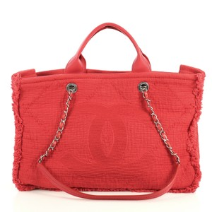 Chanel Double Face Deauville Tote in red