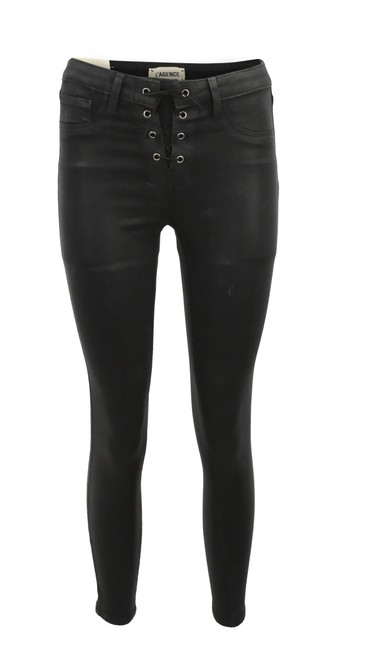 Item - Black Coated Cherie Front Lace Up Skinny Jeans Size 25 (2, XS)