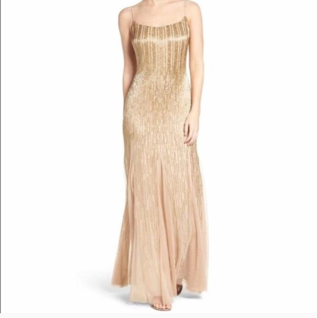 Item - Gold Beaded Spaghetti Strap Gown Formal Bridesmaid/Mob Dress Size 2 (XS)