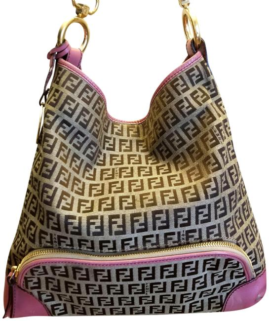 Item - * Reduced * - Pre-owned Logo Leather Detail Brown and Pink Canvas Shoulder Bag