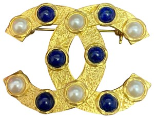 Chanel CHANEL 2019 Mint Gold Pearl Statement CC Brooch