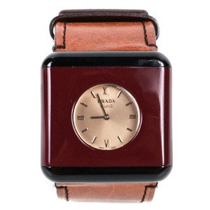 Prada Watch Red Case Brown Leather Strap Resin