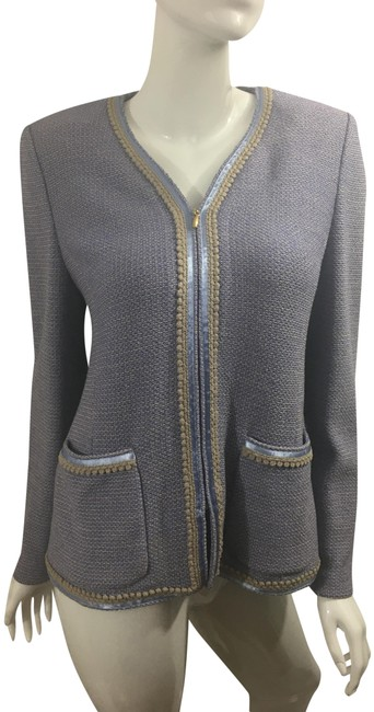 Item - Periwinkle and Taupe Zippered Knit Boucle Jacket Size 10 (M)