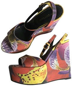 Sergio Rossi Red, Purple, Yellow, White Wedges
