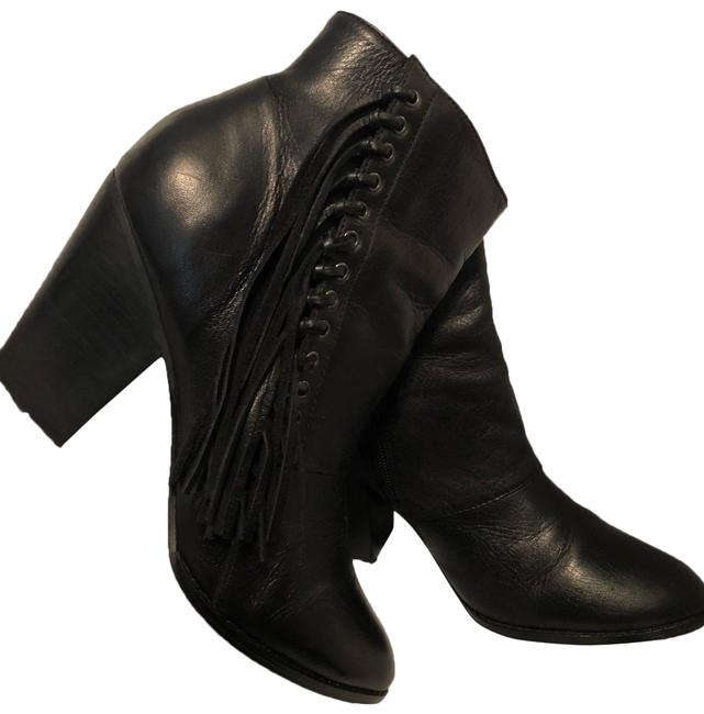 ALDO Black Linsey Fringe Leather Boots/Booties Size US 8 Regular (M, B) ALDO Black Linsey Fringe Leather Boots/Booties Size US 8 Regular (M, B) Image 1
