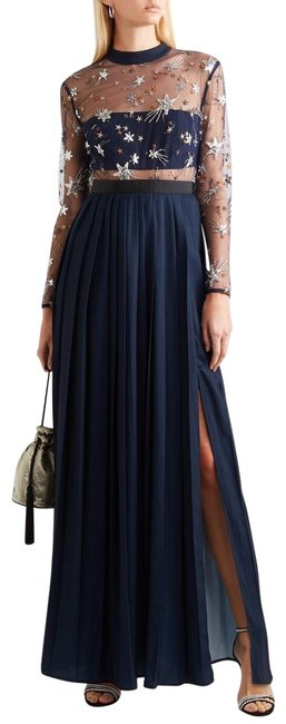 Item - Navy 2019 Star Embellished Tulle & Pleated Long Formal Dress Size 6 (S)