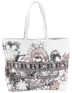 Burberry Doodle Reversible Canvas Tote in white