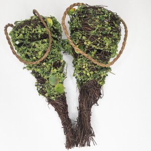 Faux Moss Covered Grapevine and Twig Cones Ceremony Decoration