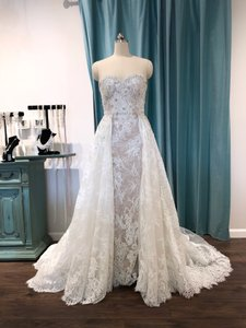 Pronovias Beige with Off White Lace Edith Traditional Wedding Dress Size 8 (M)