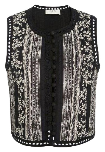 Sea Black White XS Keely Floral Cotton Crop Quilted Button Down Vest Size 4 (S) Sea Black White XS Keely Floral Cotton Crop Quilted Button Down Vest Size 4 (S) Image 1