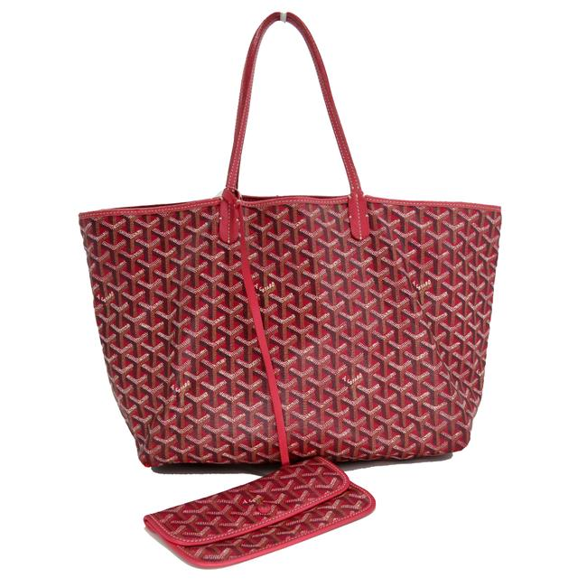 Item - Bag Chevron Print St. Louis Pm Rose Red Coated Canvas Tote