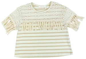 See by Chloé Fringe Hem Crochet Striped Cotton T Shirt Beige / Cream