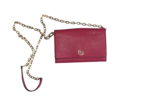 Tory Burch Leather Gold Hardware Logo Chain Saffiano Cross Body Bag