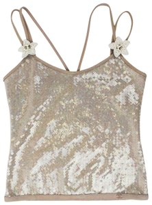 Chanel Sequin Floral Sleeveless Polyester Top Gray