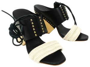 Thakoon Studded Tie Woven Ivory / Black Sandals