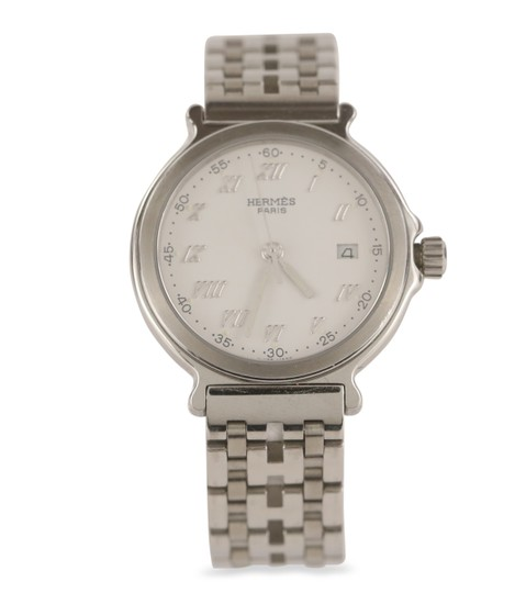 Preload https://img-static.tradesy.com/item/25869022/hermes-silver-26mm-classic-stainless-steel-watch-0-1-540-540.jpg