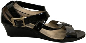 Jimmy Choo Patent Leather Crisscross Strap Wedge Black Sandals