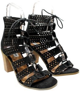 Steve Madden Suede Lace Up Stacked Heel Gladiator Black Sandals