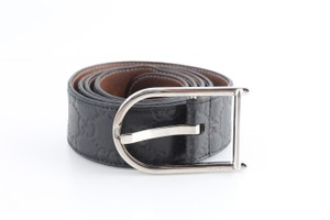 Gucci Gucci Black Leather GG Rubber Guccissima Belt